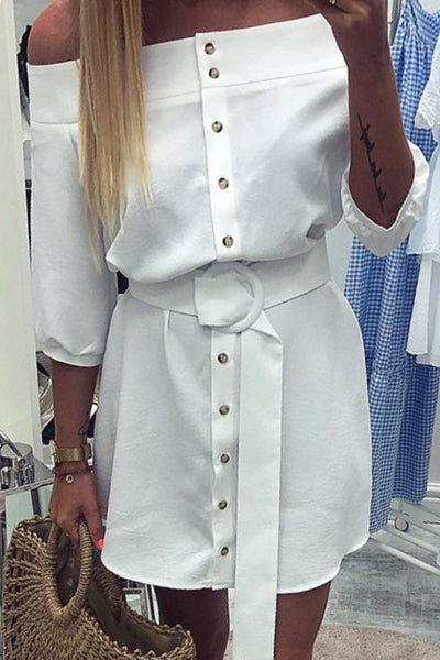 Off Shoulder Stripe Belted Dress