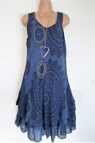 Print Sleeveless Casual Dress