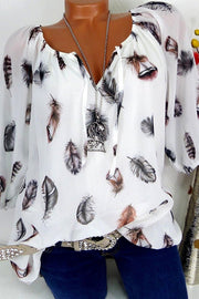 Feather Print Off Shoulder Blouse