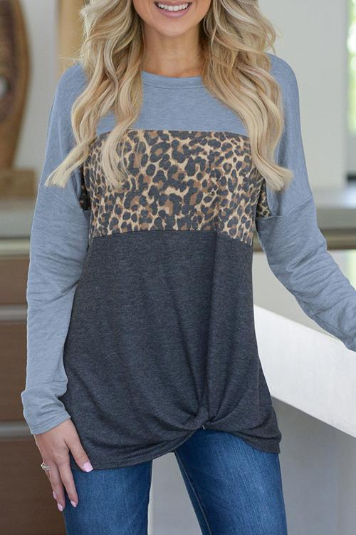 Contrast Color Leopard Printed Splicing Casual Blouse