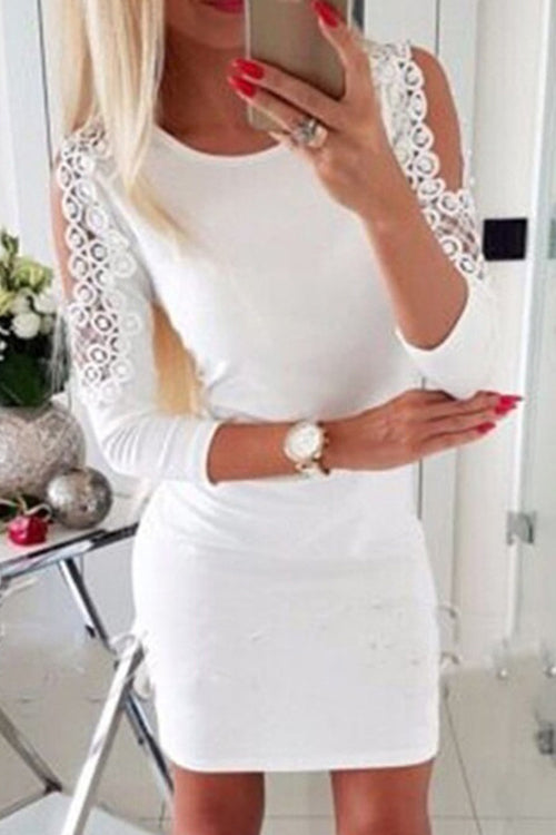 Lacework Cold Shoulder A-line Dress