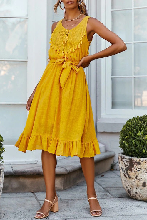 Sleeveless Hollow-out Tassels Belted Dress