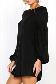 Solid Puff Sleeve Regular Casual Dress