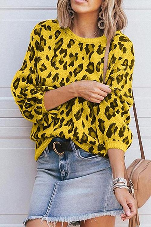 Lantern Sleeve Leopard Knit Sweater