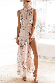 Fairy Flower Print Chiffon Maxi Dress