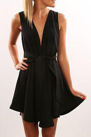 Flare Deep V Belted Casual Dress