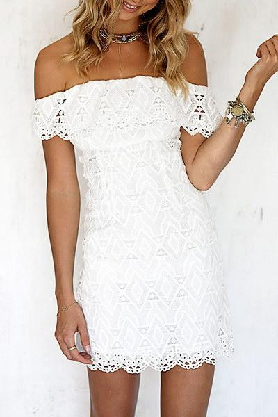 Lace Ruffles Off Shoulder Bodycon Dress