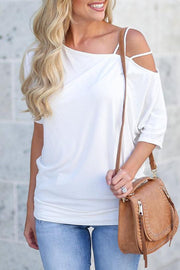 Skew Neck Strap Shoulder T-shirt