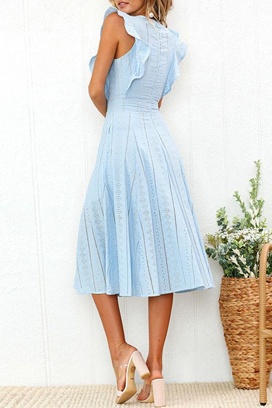 Pastoral Ruffle Edges Stripe Dress