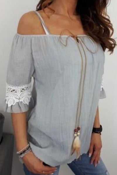 Half Sleeve Lace-up Blouse