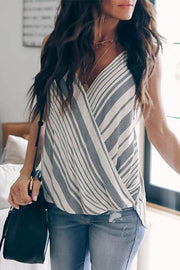 Stripe Surplice Trendy Vest