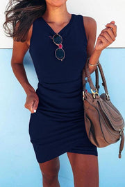 Surplice Design Ruched Bodycon Dress