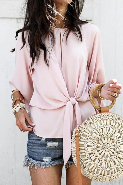 Knotted Bell Sleeve Blouse