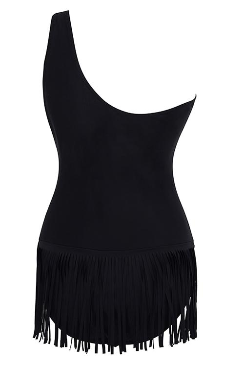 Sexy Black One Shoulder Tassel Edges Tankini
