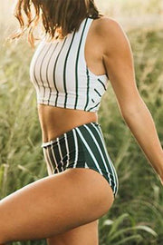 Fresh Spring Striped Two-piece Tankini