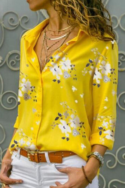Flower Print Casual Blouse