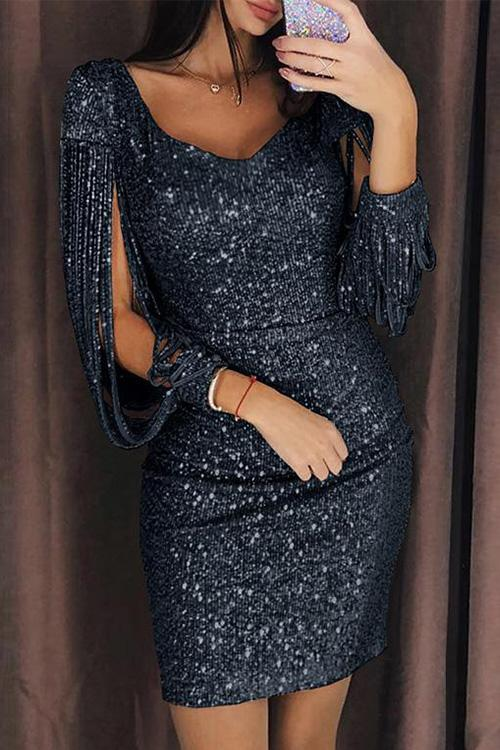 Sequined Tassel Sleeves V-neck Shining Sheath Dress