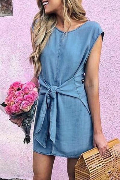 Denim Bow-tie Waist Dress