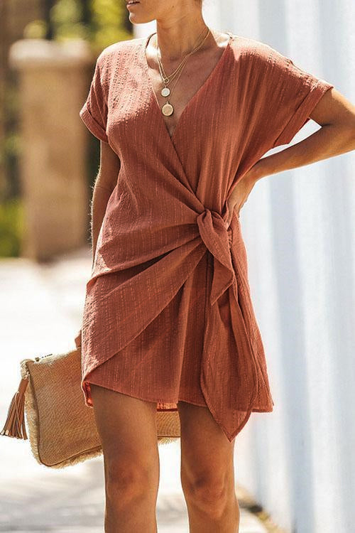 Cross V Neck Tied Mini Dress