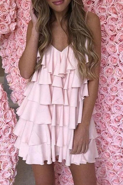 Chiffon Ruffles Tiered Dress