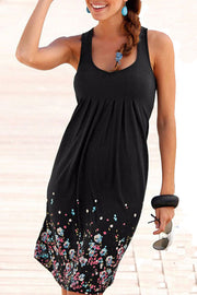 Ruched Flower Print Casual Dress