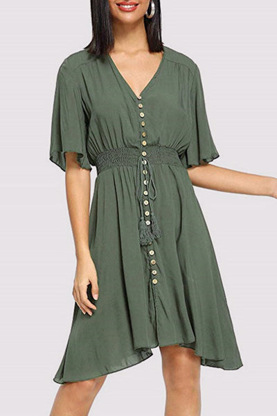 V-Neck Half Sleeve Dress