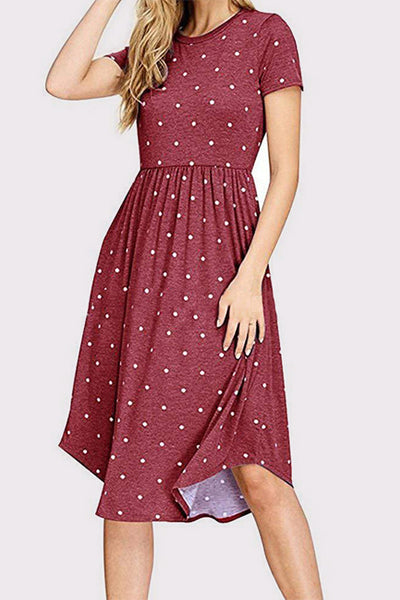Pleat Polka Dot Pocket Dress