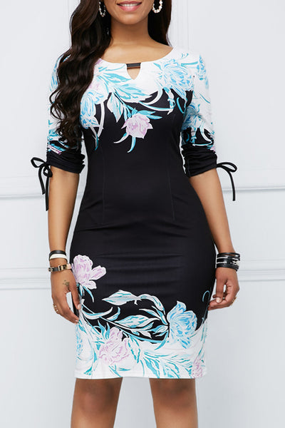 Print Tie Sleeve Sheath Dress