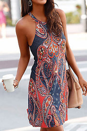 Sleeveless Floral Print Boho Dress