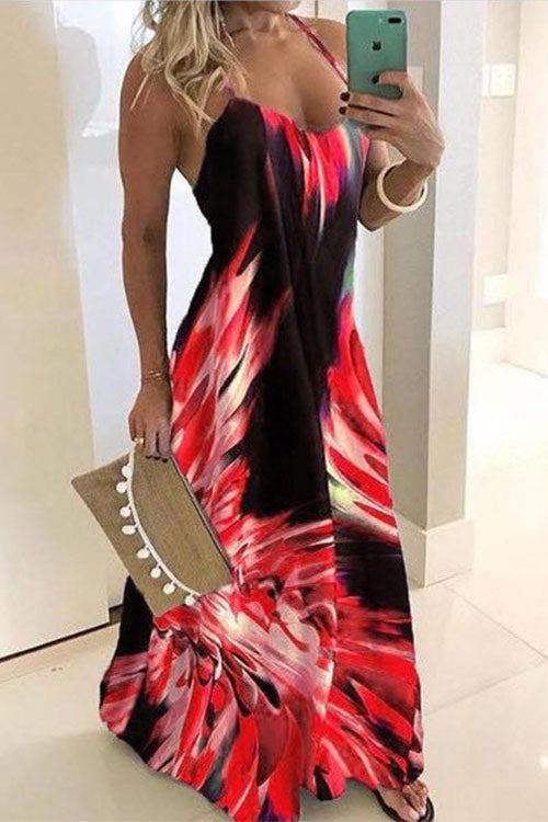 Printed Backless Sling Maxi Dress