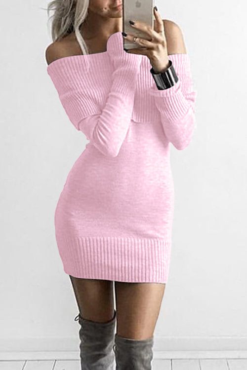Off Shoulder Knitted Bodycon Dress