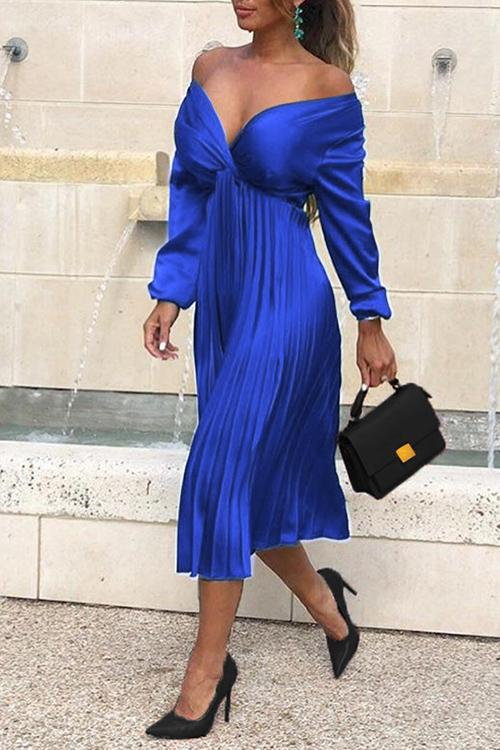 V Neck Strapless Pleated Dress