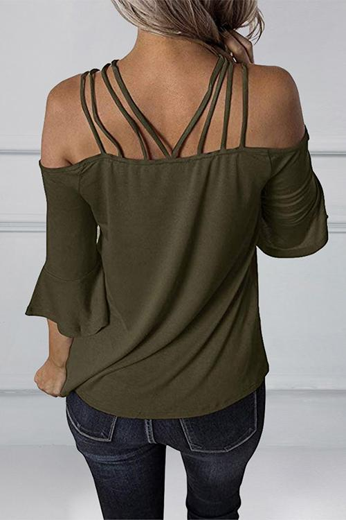Spaghetti Straps Off Collar Flare Sleeve T-shirt