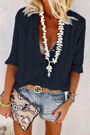 V Neck Long-Sleeved Shirt