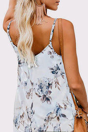 V-Collar Print Sleeveless Blouse