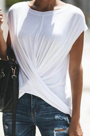 V-Neck Casual Pleated T-Shirt
