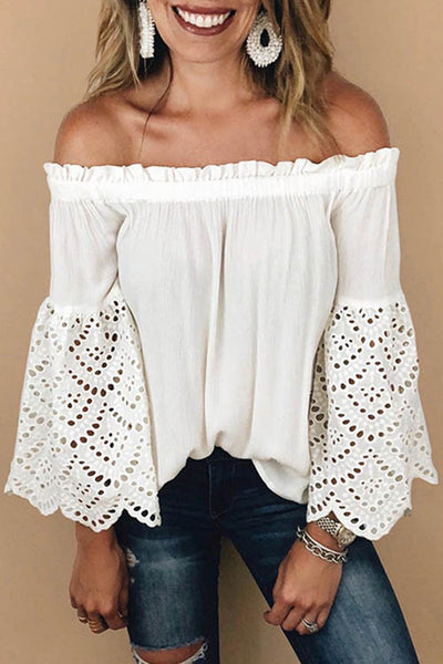 One Shoulder Hollow Out Flare Sleeve Blouse