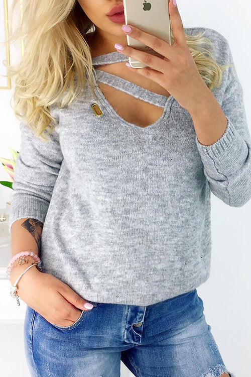 Knitted Chest Cutout Long Sleeve Sweater