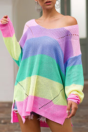 Pastel Stripe Loose Sweater