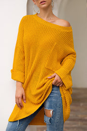 Slash Neck Loose Fit Sweater
