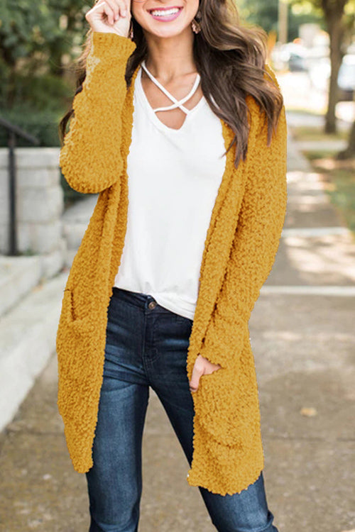Plain Pockets Knitted Cardigan