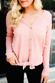 V Neck Button Hem Strap Sweater