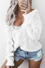 V Neck Oblique Shoulder Twist Sweater