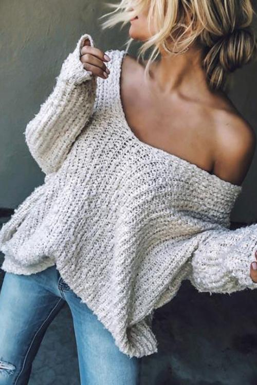 Solid Off Shoulder Sweater