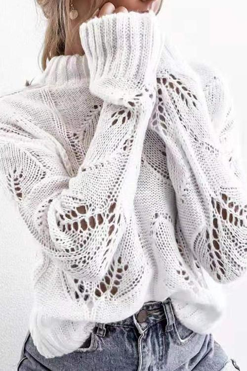 Openwork Long Sleeve Turtleneck Sweater