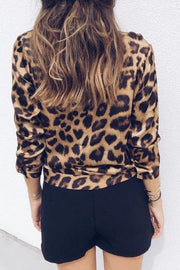 V Neck Leopard Long Sleeved Shirt