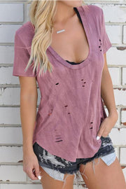 U Neck Solid color Hole T Shirt