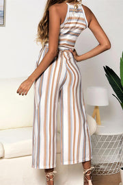 Colorful Striped Print Halter Jumpsuit