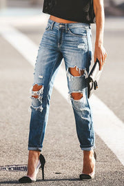 Button Stretch Ripped Jeans