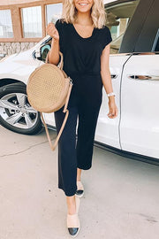 V Neck Pocket Solid Color Jumpsuit